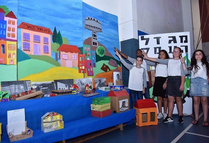 הארי מציגים את התערוכה שהכינו במסגרת הצדעה למייסדי העיר