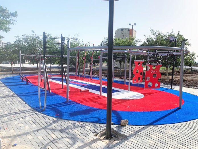 מתחם נינג'ה מקצועי הוקם בפארק העירוני